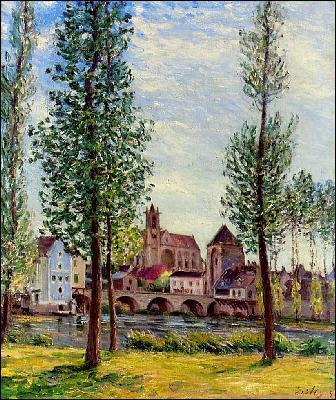 Quel peintre anglais a représenté 'Vue de Moret sur Loing à travers les arbres' ?