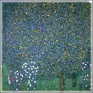 Quel peintre a représenté 'Rosiers sous les arbres' ?