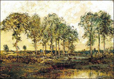 Quel peintre a représenté 'Arbres dans la plaine' ?