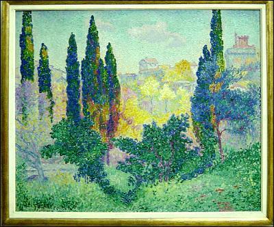 Quel peintre a représenté 'Cyprès à Cagnes' ?