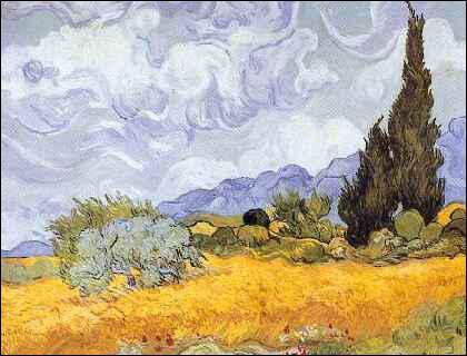 Quel peintre hollandais a représenté 'Champ de blé aux cyprès' ?