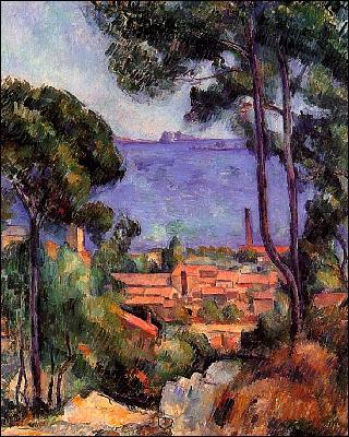 Quel peintre a représenté 'Vue à travers les arbres' ?