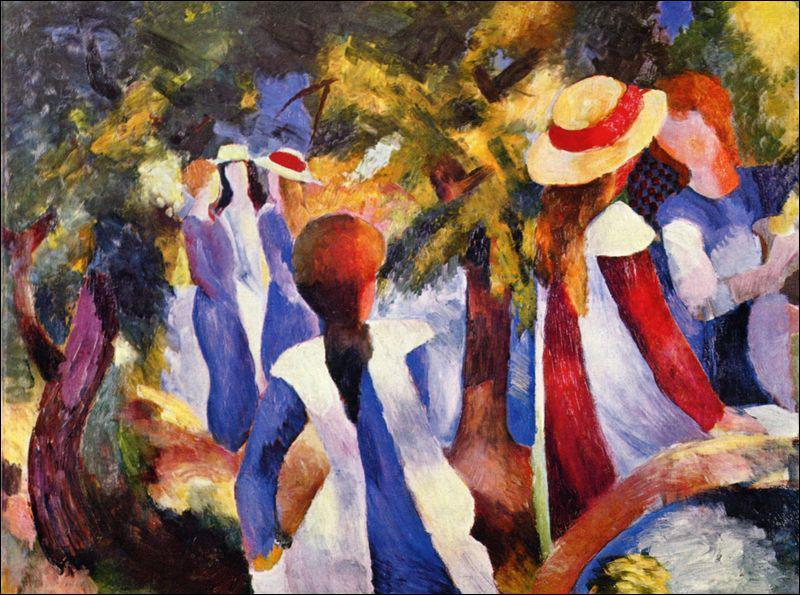A quel groupe d'artiste cette toile d'Auguste Macke fait-elle référence ?