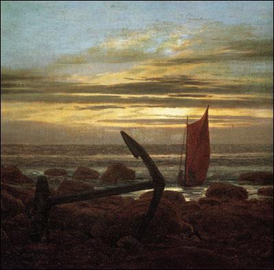 Quel peintre allemand a réalisé 'Nuit de lune avec les bateaux sur la mer Baltique' ?