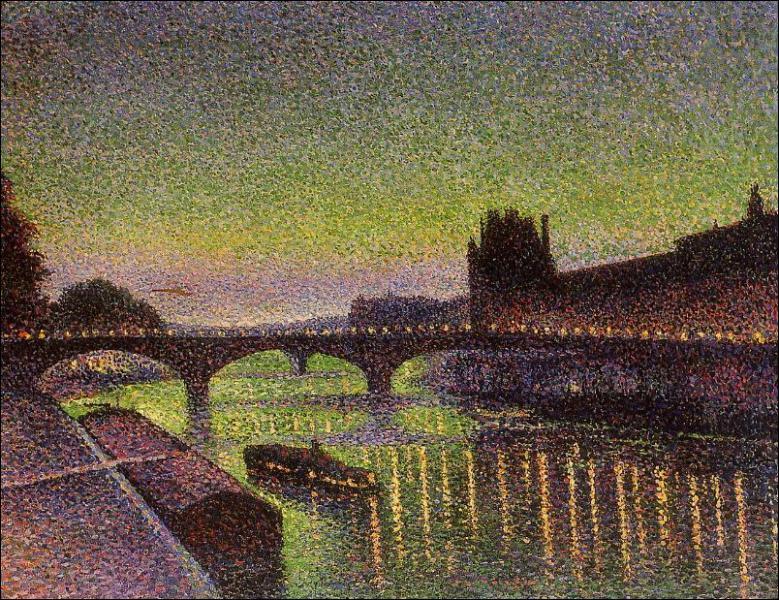 Quel peintre pointilliste a réalisé 'Le Louvre et le pont du Carrousel, effet de nuit' ?