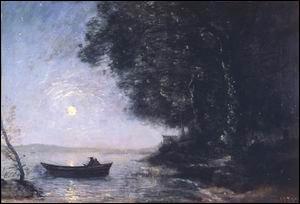 Quel peintre chef de file de l'école de Barbizon a réalisé 'Le lac, effet de nuit' ?
