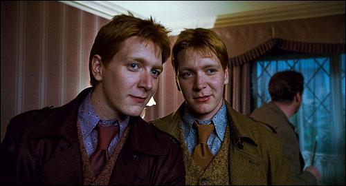 Lequel des deux jumeaux Weasley va avoir l'oreille coupée suite à un affrontement en plein-air avec des mangemorts ?