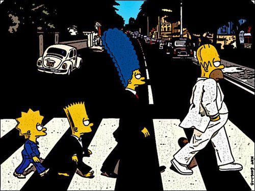 A quel groupe rendent hommage les Simpson sur cette pochette ?
