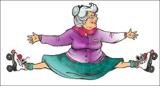 Pour faire une telle acrobatie, cette vieille dame doit avoir la...