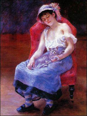 Qui a peint Femme dormant avec chat ?