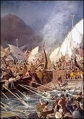 Où la flotte perse fut-elle totalement détruite lors de la Seconde guerre médique ?