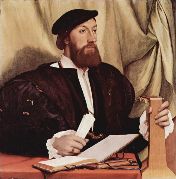 Cet artiste du XVIème siècle a réalisé un portrait de Charles VIII, roi d'Angleterre, ainsi qu'un portrait célèbre de deux ambassadeurs, Jean de Dinteville et Georges de Selve. De qui s'agit-il ?
