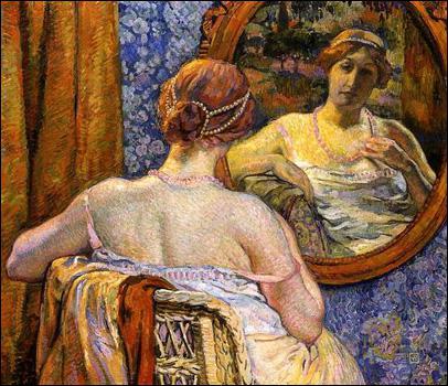 Quel peintre a réalisé 'Femme au miroir' ?