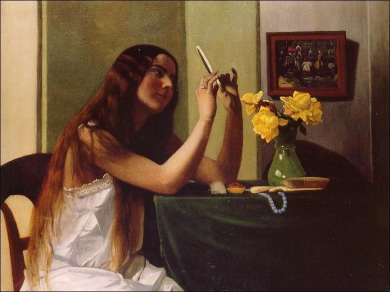 Quel peintre a réalisé 'Jeune femme au miroir' ?