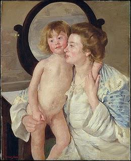 Quelle peintre a réalisé 'Mère et enfant (le miroir ovale)' ?
