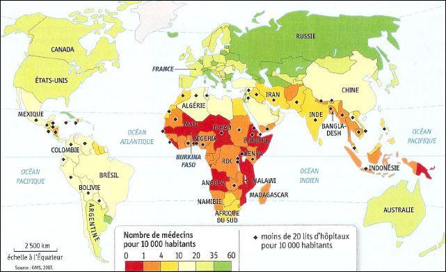 Quels pays ont suffisamment d'hôpitaux et de médecins ?