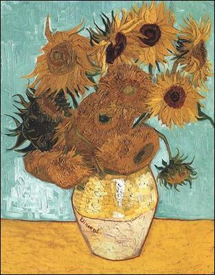 Vase avec douze tournesols :