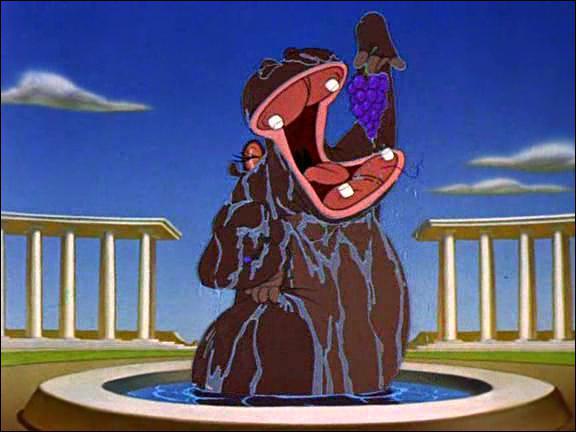 De quoi sont vêtus les hippopotames dans le sixième passage ?