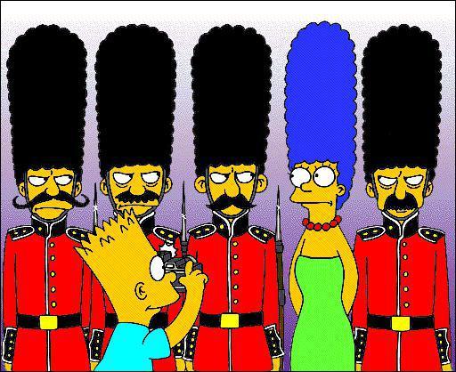 Bart a pris maman en photo avec la Garde Royale de Londres