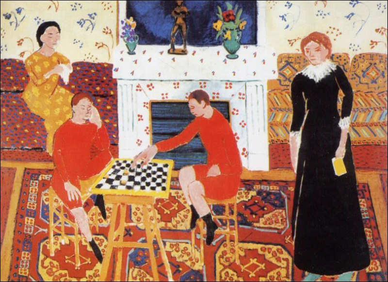 Qui a peint La famille du peintre (jouant aux dames) ?