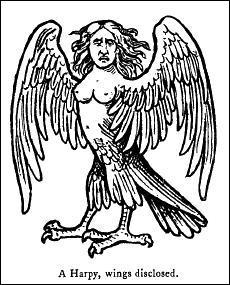 Esprits ailés de la mythologie grecque mi-femme mi-oiseau vicieuses et chapardeuses ...