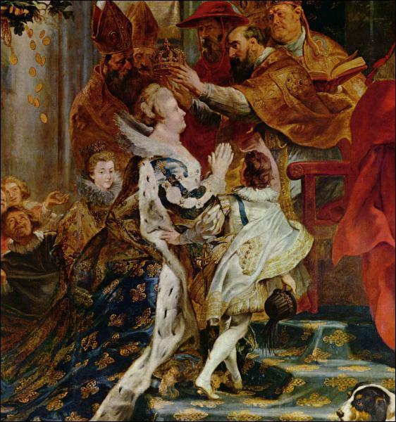 Quelle reine, grand-mère de Louis XIV, est peinte ici par Rubens pendant son couronnement en tant que régente ?