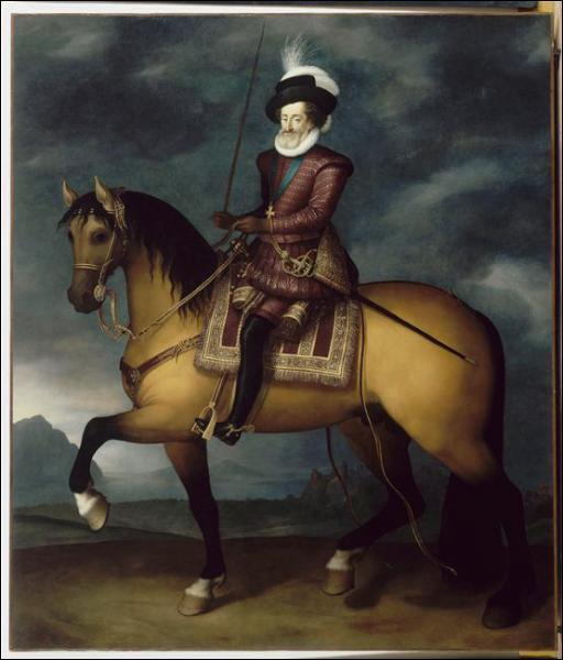 Quel roi, dont on vient de retrouver le crâne, est représenté ici dans un portrait équestre par Guillaume Heaulme ?