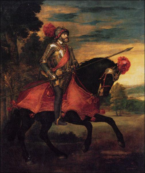 Quel souverain de la famille Habsbourg est représenté ici par Titien, en armure de chevalier ?