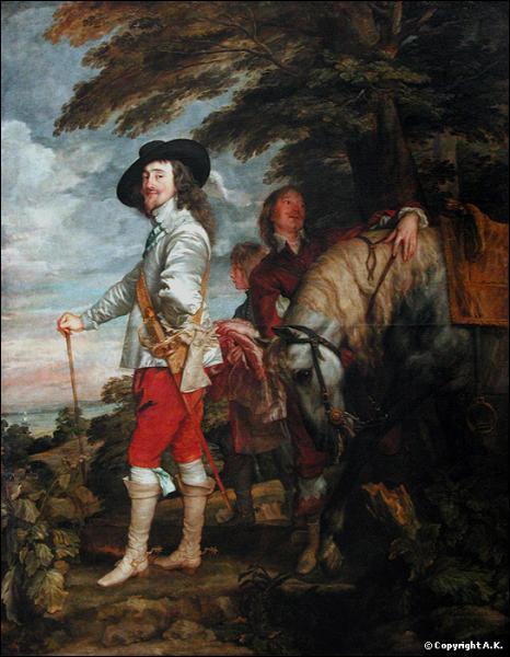 Quel roi, décapité en 1649, est peint ici à la chasse par Antoon Van Dyck ?
