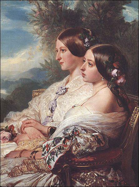 Quelle reine et impératrice, sur le trône pendant 64 ans, est représentée ici avec sa cousine ?