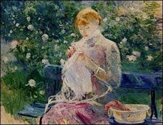 Qui a peint 'Pasie cousant dans le jardin de Bougival' ?