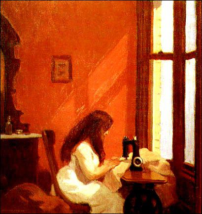 Qui a peint 'Jeune fille à la machine à coudre' ?