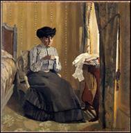 Qui a peint 'Femme cousant dans un intérieur' ?