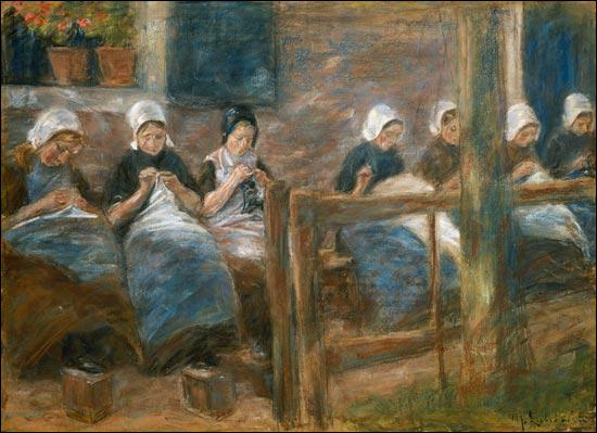 Qui a peint 'Salle de couture à Huizen' ?