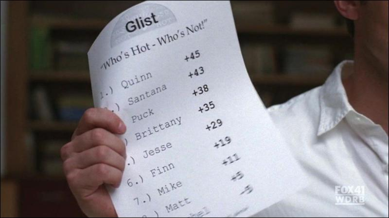 Qui a fait paraître une liste des membres de Glee Club classés selon leur degré de dépravation ?