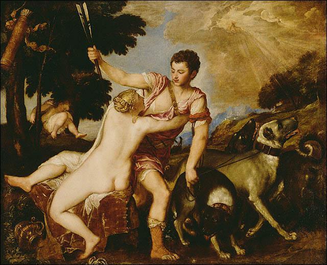 Qui a peint Vénus en compagnie de son amant Adonis ?