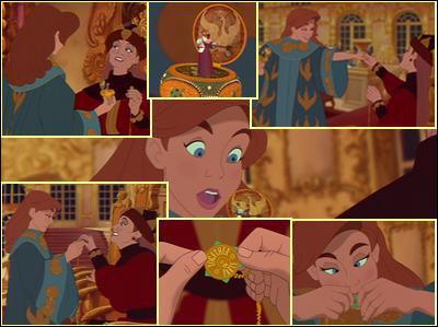 Qu'est ce qu'y est gravé sur le pendentif d'Anastasia ?