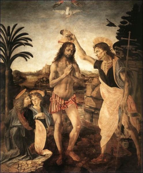 Ce «baptême du Christ» est la première peinture où la main de Léonard intervient en collaboration avec son maître. Quels éléments a-t-il peints ?