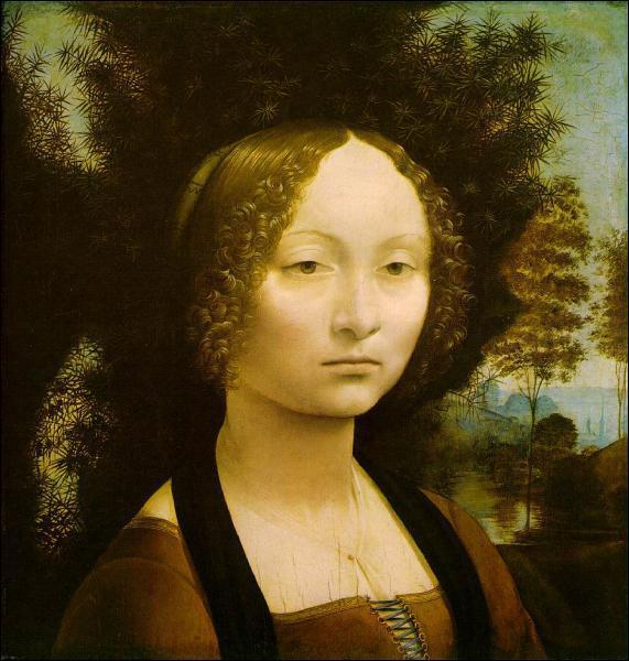Le portrait de Ginevra de Benci est peint par Léonard à cette époque : quelle est sa spécificité ?