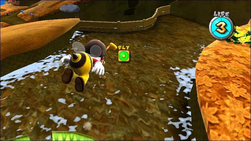 Qu'arrive-t-il à Mario s'il touche l'eau avec le déguisement  abeille  ?
