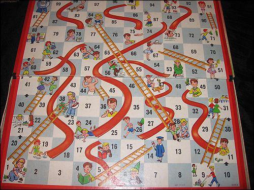 Sur le jeu 'Serpents et Echelles', que doit-on faire si on tombe sur la tête d'un serpent ?