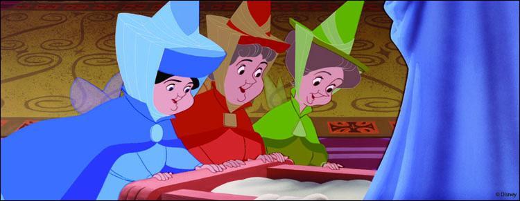 Quels sont les noms des 3 gentilles petites fées qui se sont penchées avec bienveillance sur le berceau de la princesse Aurore ?