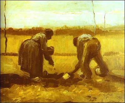 Fermiers plantant des pommes :