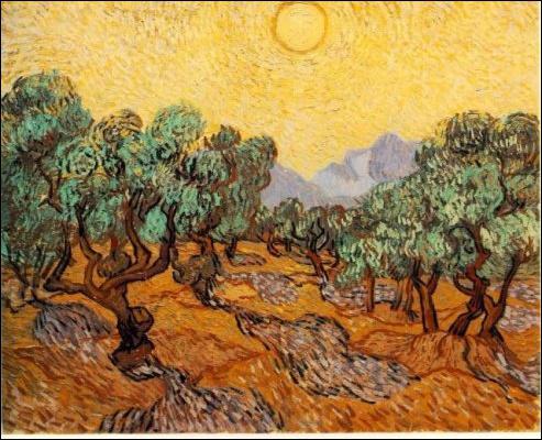 Oliviers sous un ciel jaune et le soleil ?