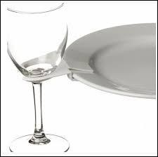 Les verres sont rangés derrière l´assiette du plus grand au plus petit... De quel côté se trouve le plus grand ?