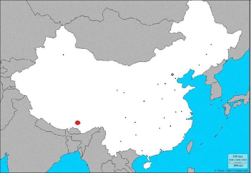 Quelle est la ville indiquée en rouge sur la carte ?