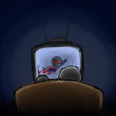 _______________, je regarde la télévision.