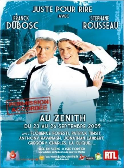 Dans le Festival Juste pour Rire présenté par Franck Dubosc et Stéphane Rousseau, en quoi est-elle déguisée lorsqu'elle les rejoint dans un sketch ?