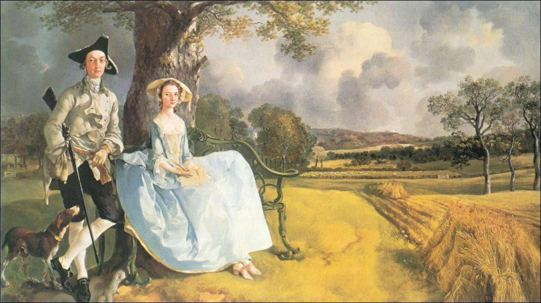 Quel peintre anglais du 18ème a représenté des nobles ou des bourgeois dans des paysages champêtres ?