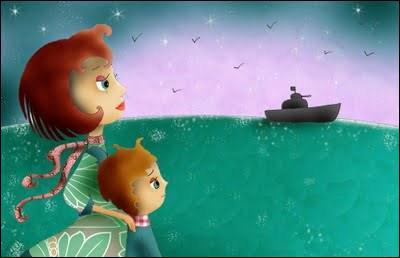 Nous avons aperçu un bateau au ____.
